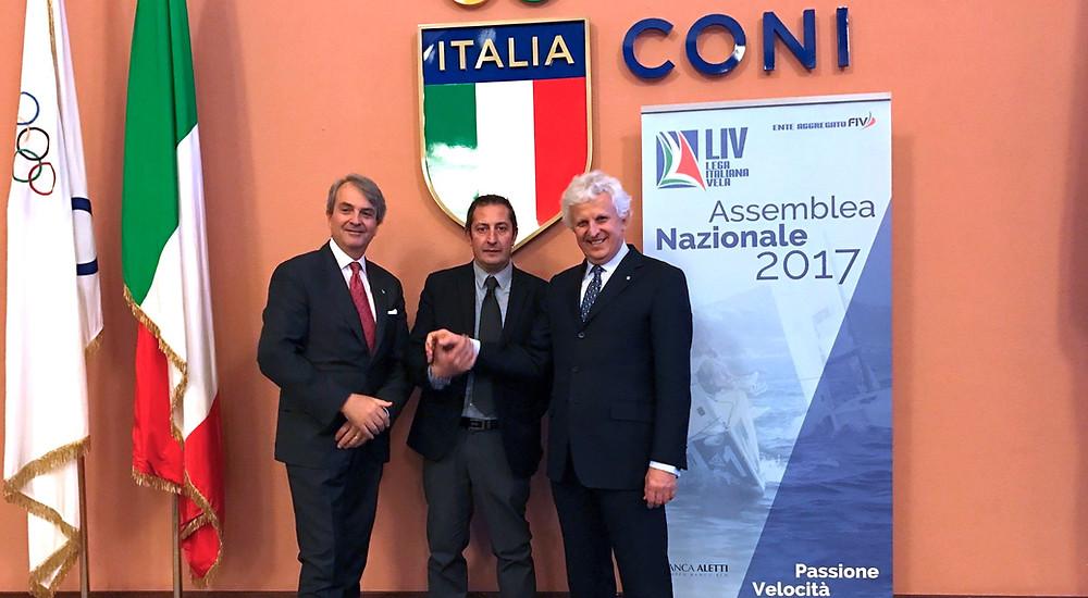 Il Presidente FIV Ettorre con Il Presidente de Felice e il Vicepresidente Rinaldi