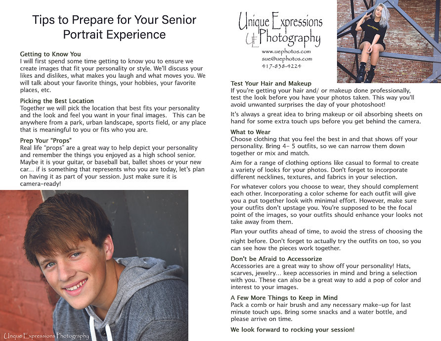 Tips to prepare for senior portrait session