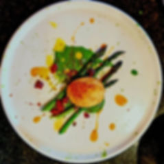 Asparagus, crispy hens egg, watercress emulsion, chorizo