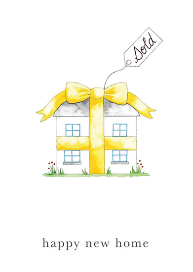 Happy New Home - yellow ribbon
