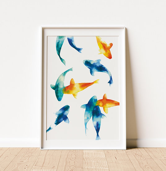 Blue, Orange and Green Koi Fish - Limited Edition Print
