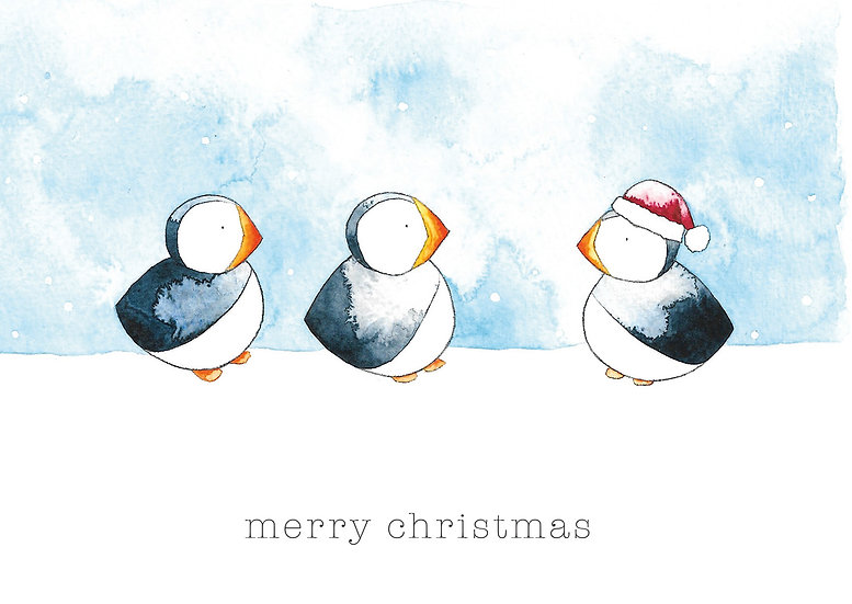 Pack of 4 - Puffin Christmas Cards