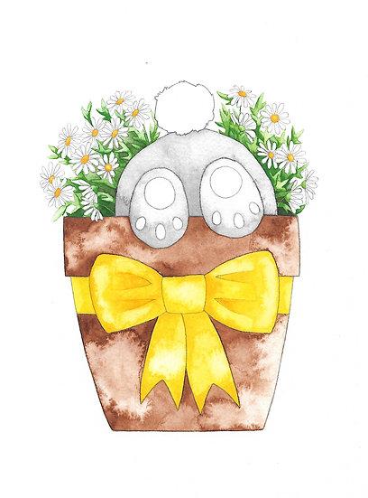 Bunny in a daisy pot