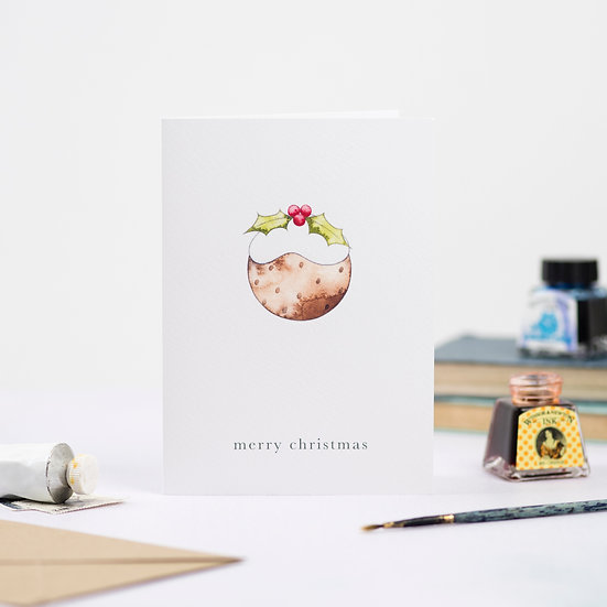 Pack of 4: Christmas Pudding card