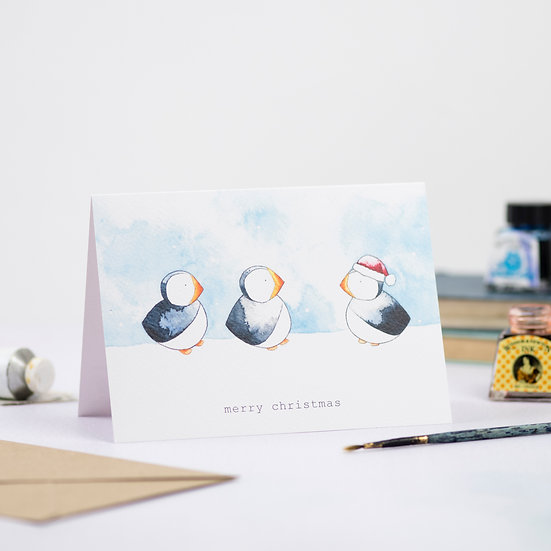 Puffins Christmas Card