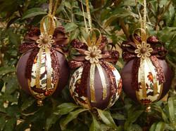 bolas de natal artesanais verde vermelha