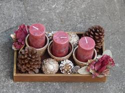 arranjos de natal com velas pinhas em ve