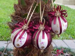 Bolas de Natal artesanal trio Vinho