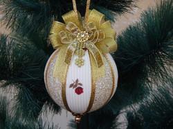 Bolas de Natal artesanal decorada trio