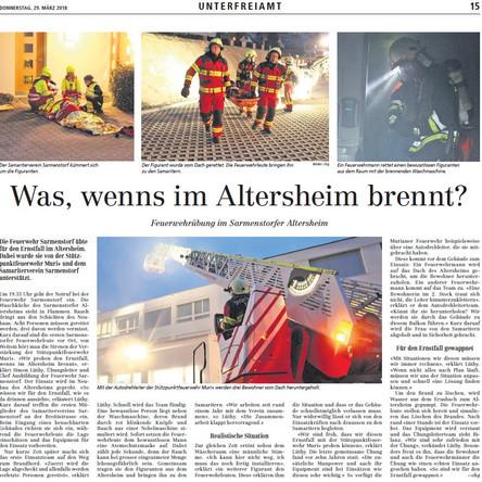Zeitungsbericht Einsatzübung Altersheim