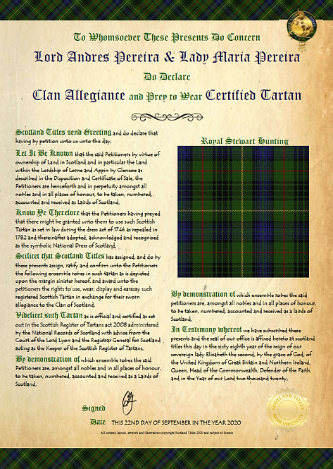 Tartan - Certificate of Clan Allegiance