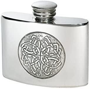 Pewter Whisky Flask, kidney shaped, Celtic Style