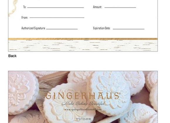 Gingerhaus® Gift Certificate $75 - GHGIFT$75