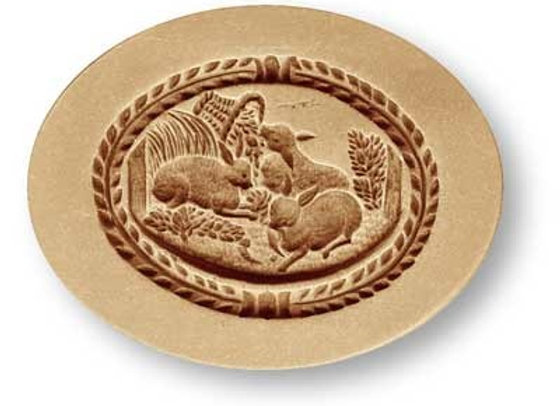 AP 3528 Three Rabbits oval springerle cookie mold by Anise Paradise 3528