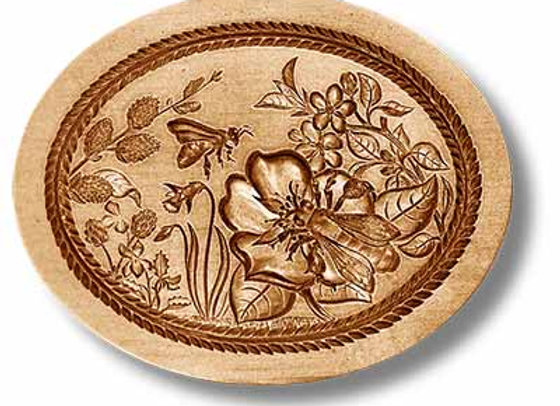 Spring Bee on Flower springerle cookie mold by Anise Paradise 07120