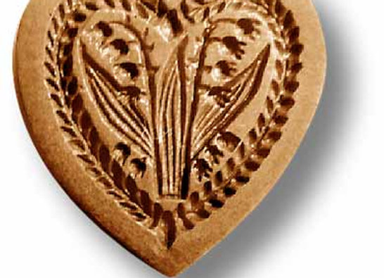 Heart with Lilies of the Valley springerle cookie mold by Anise Paradise 05102