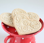 lotus heart shortbread springerle cookie