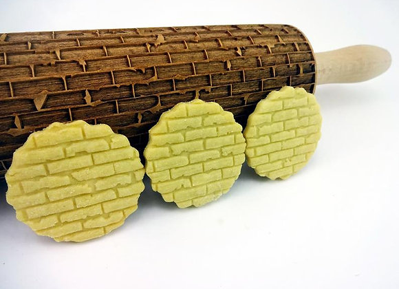 Brick Wall Pattern Wooden Springerle Rolling Pin Large by Gingerhaus® WRPN04L