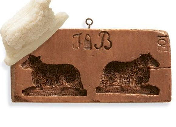 M2098 Double Lamb Springerle Marzipan Mold by House on the Hill M2098