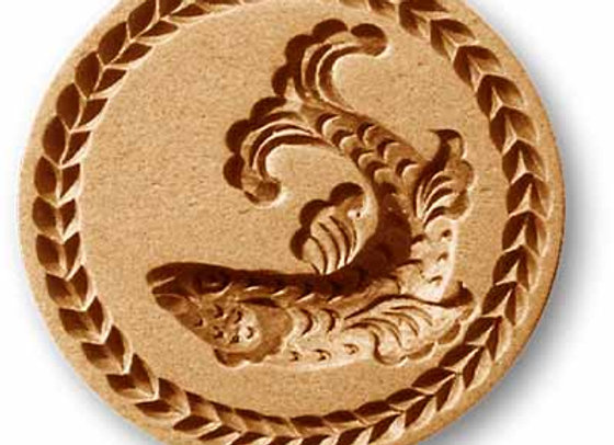 Fish with Leaf Wreath Border springerle cookie mold by Anise Paradise 3205