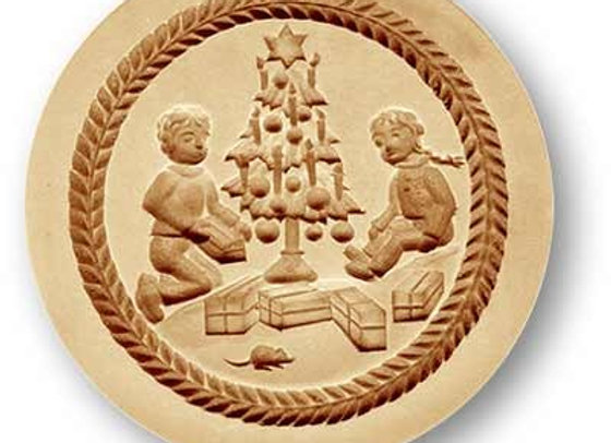 AP1213 Children under Christmas tree springerle cookie mold by Anis-Paradies