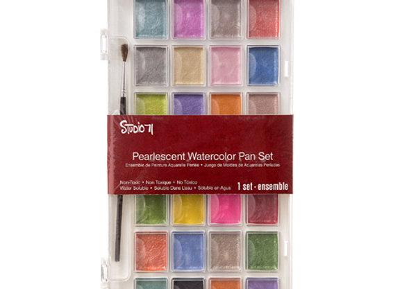 Studio 71 Pearlescent Watercolor Pan Set: 28 Colors  30052079