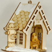 Dog House wooden house ornament