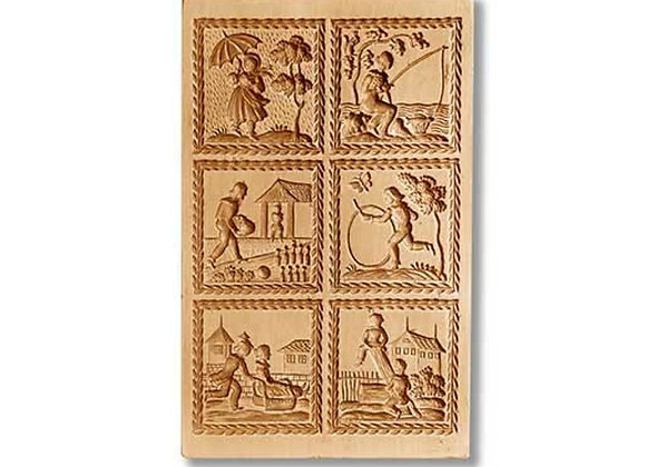 6 Pictures: Scenes with Children... springerle cookie mold Anis-Paradies 8880