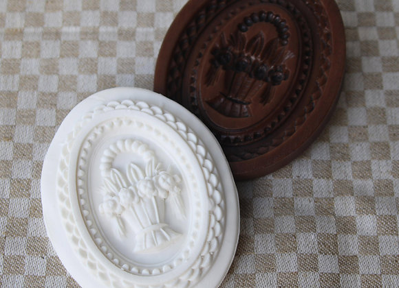 Tisket Tasket Flower Basket Oval Springerle Cookie Mold by Gingerhaus M11832