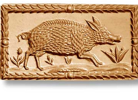 AP 3439 Wild Boar with Leaf Frame springerle cookie mold by Anis-Paradies 3438