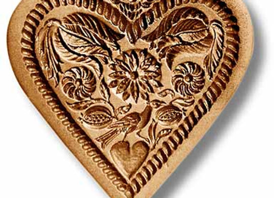 Flower Heart with Angel springerle cookie mold by Anise Paradise 5136