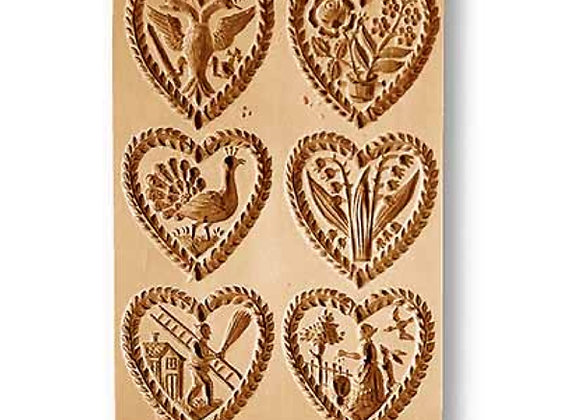 Six Pics Mulitple Hearts springerle cookie mold by Anise Paradise 8848