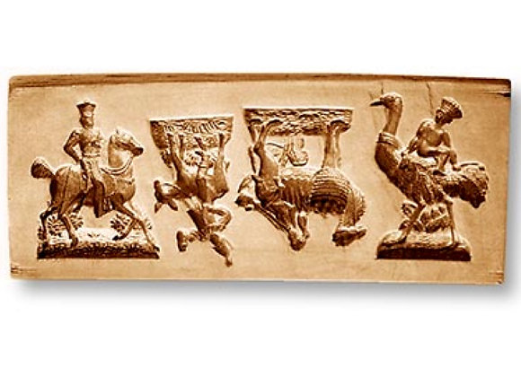 4 Pictures: Rider on Horse, Donkey springerle cookie mold by Änis-Paradies 8842