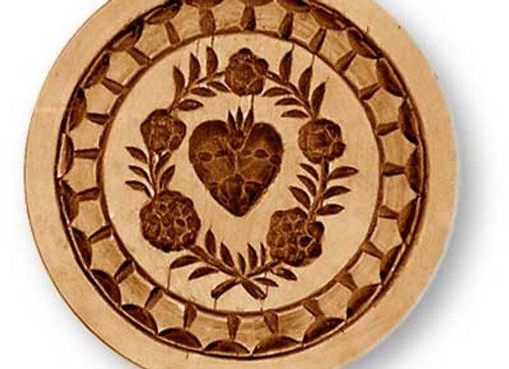 AP 5380 Heart in Flower Wreath springerle cookie mold by Anis-Paradies