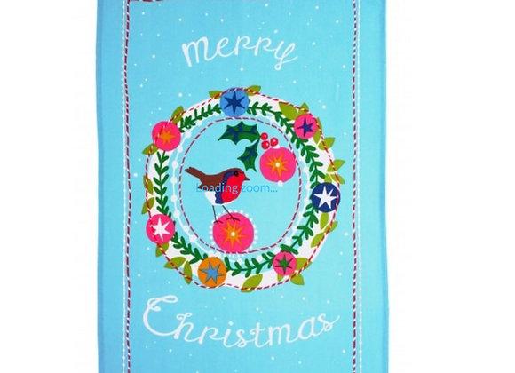 022FTG Festive Frosty Garland Cotton Tea Towel by Ulster Weavers
