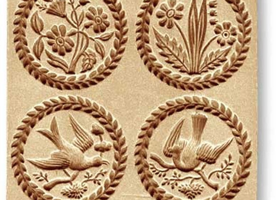 4 pictures flowers birds springerle cookie mold by Anis-Paradies 8954
