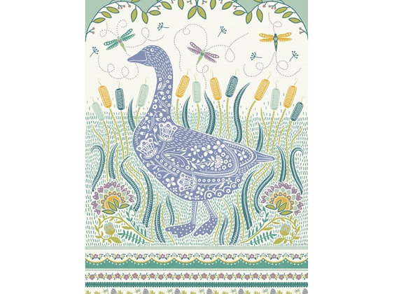 022GOS Woodland Goose Cotton Tea Towel by Ulster Weavers