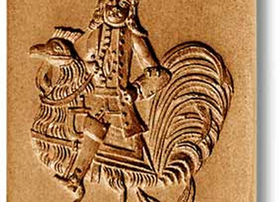 AP-5951 Man Riding Rooster springerle cookie mold by Anise Paradise