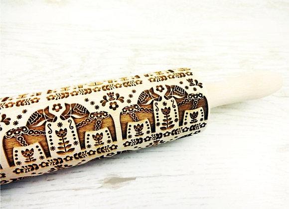 Folksy Horses Wooden Springerle Rolling Pin Large by Gingerhaus® WRPN06L
