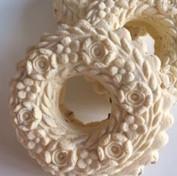 six rose wreath springerle cookie mold c