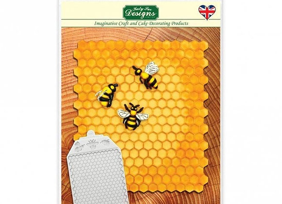 Honeycomb Bee Textured silicone mold by Katy Sue Designs CE0054