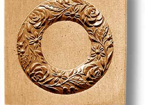 2269 Wreath with Four Roses springerle cookie mold by Anise Paradise