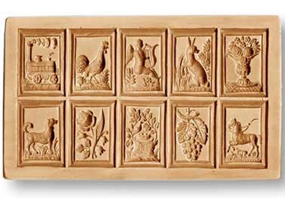 10 pictures locomotive, rooster... springerle cookie mold by Anis-Paradies 8895