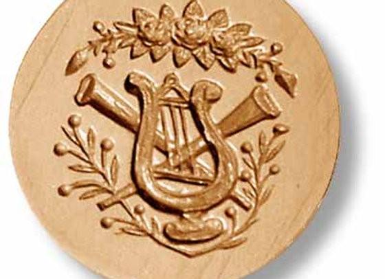 Lyre and Trumpet Swag springerle cookie mold by Anise Paradise 6825