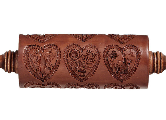 Dozen Hearts Springerle Rolling Pin by House on the Hill M1551