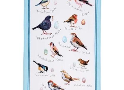 022BIS Birdsong Birds Cotton Tea Towel By Ulster Weavers