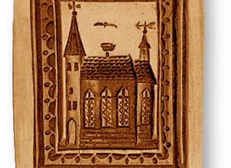 Church with Stork Nest springerle cookie mold by Anise Paradise 4359