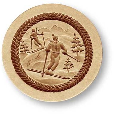 7709 springerle cookie mold skiers