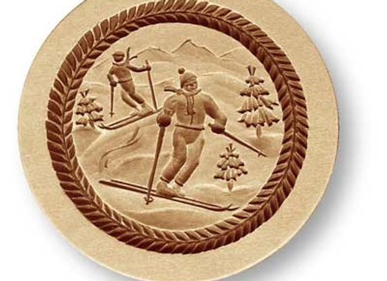 AP 7709 Skiers on a Mountain springerle cookie mold by Anis Paradies