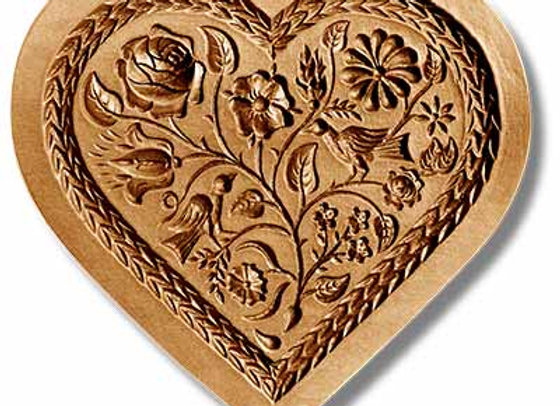 Heart with Two Doves springerle cookie mold by Änis-Paradies 5113